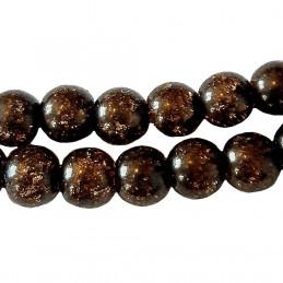 Fil de 62 perles rondes 6mm 6 mm en cristal de roche craquelés marron fonçé