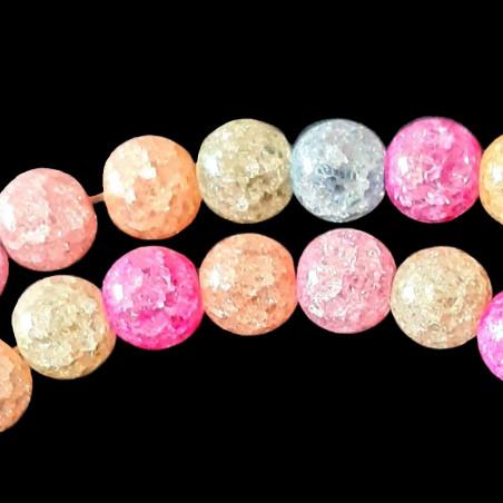 Fil de 46 perles rondes 8mm 8 mm en cristal de roche craquelés multicolore