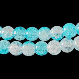 Fil de 62 perles rondes 6mm 6 mm en cristal de roche craquelés bicolore bleu lagon et blanc