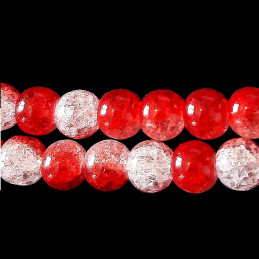 Fil de 46 perles rondes 8mm 8 mm en cristal de roche craquelés bicolore rouge et blanc