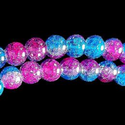 Fil de 62 perles rondes 6mm 6 mm en cristal de roche craquelés bicolore bleu et rose