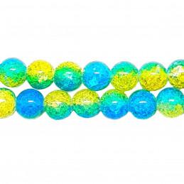 Fil de 46 perles rondes 8mm 8 mm en cristal de roche craquelés bicolore bleu et jaune