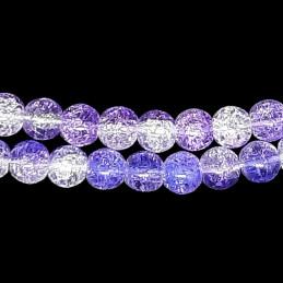 Fil de 46 perles rondes 8mm 8 mm en cristal de roche craquelés bicolore violet et blanc