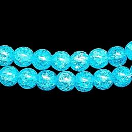 Fil de 46 perles rondes 8mm 8 mm en cristal de roche craquelés bleu lagon