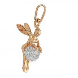 Pendentif Fée clochette et sa boule disco cristal en plaqué or + chaine