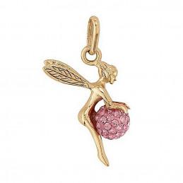 Pendentif Fée clochette et sa boule disco rose en plaqué or + chaine