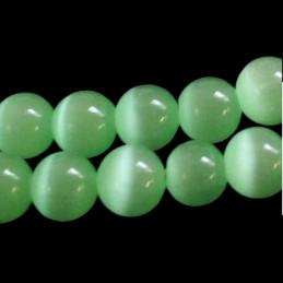 Fil de 50 perles rondes oeil de chat 8mm 8 mm vert pastel 41