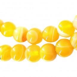 Fil de 64 perles rondes 6mm 6 mm en agate jaune transparente