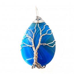 Pendentif goutte arbre de vie  wrap en agate bleue + chaine 3,5cm