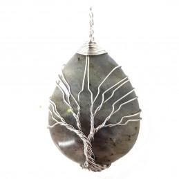 Pendentif goutte arbre de vie  wrap en labradorite + chaine 4cm