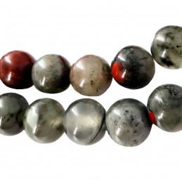 Fil de 47 perles rondes 8mm 8 mm en jaspe héliotrope sanguin