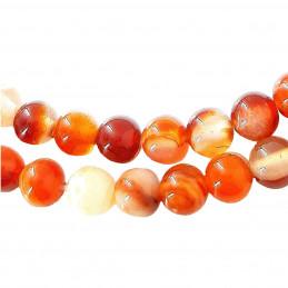 Fil de 91 perles rondes 4mm 4 mm en agate agathe rouge