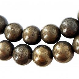 Fil de 48 perles rondes 8mm 8 mm en pyrite naturelle