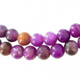 Fil de 48 perles rondes 8mm 8 mm en lépidolite violet fonçé teintée
