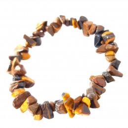 Bracelet élastique de perles chips en oeil de tigre - 50mm