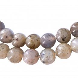 Fil de 58 perles rondes 6mm 6 mm en labradorite grade A avec reflets