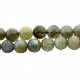 Fil de 46 perles rondes 8mm 8 mm en labradorite grade A avec reflets