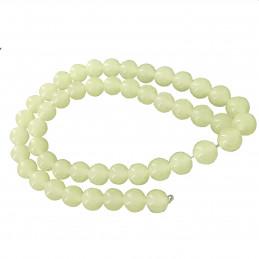 Fil de 46 perles rondes 8mm fluorescente vert brille dans le noir phosphorescente