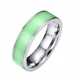 Bague anneau acier fluorescente vert T52 phosphorescente