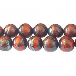 Fil de 45 perles rondes 8mm 8 mm en oeil de fer taureau rouge