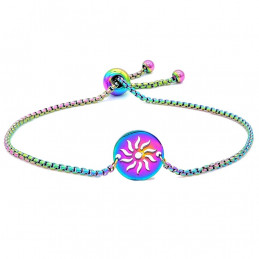 Bracelet caméléon irisé multicolore soleil 21 cm