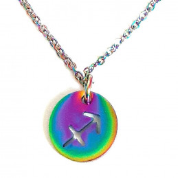 Collier caméléon irisé multicolore astro signe zodiaque sagittaire 45 cm