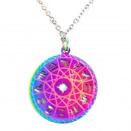 Collier caméléon irisé multicolore astro médaille12 signes du zodiaque 45 cm