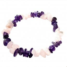 Bracelet élastique de perles chips en améthyste et quartz rose anti stress - 50mm
