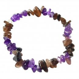 Bracelet élastique de perles chips en améthyste et quartz fumé  - 50mm