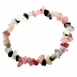 Bracelet élastique de perles chips en quartz fraise et quartz tourmaline  - 50mm