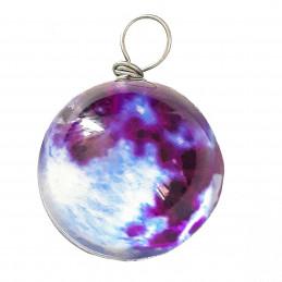 Pendentif sphère nuage violet qui brille dans le noir fluo 2cm diamètre