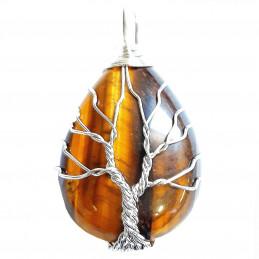 Pendentif goutte arbre de vie en oeil de tigre marron wrap argenté + chaine 3,5cm