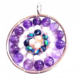 Pendentif médaille fleur en perles d' améthyste et cristaux + chaine