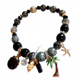 Bracelet élastique breloques coquillage étoile palmier et perles d 'agate noire