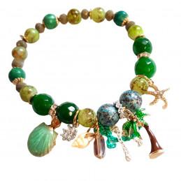 Bracelet élastique breloques coquillage étoile palmier et perles d 'agate verte