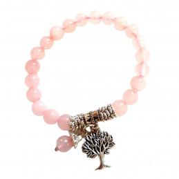 Bracelet élastique breloques arbre de vie en perles de  quartz rose