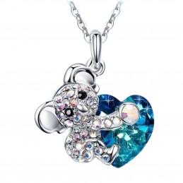 Pendentif koala et son coeur en cz cristal et bleu + chaine
