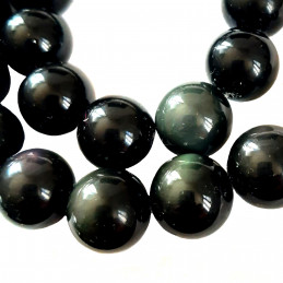 Fil de 27 perles rondes 14mm en obsidienne noire dorée argentée