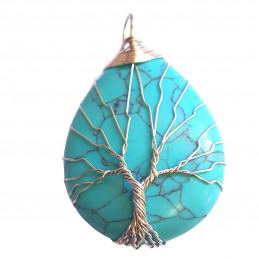 Grand Pendentif goutte arbre de vie  wrap en howlite turquoise synth + chaine 4cm