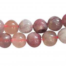 Fil de 46 perles rondes 8mm 8 mm en tourmaline rose rubélite
