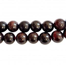 Fil de 62 perles rondes 6mm 6 mm en grenat rouge