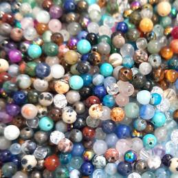 100 perles rondes Meli Melo Mix mélange de pierres fines 6mm semi précieuses