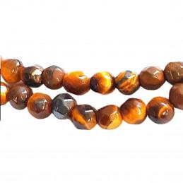 Fil de 100 perles facettées à facettes 3 - 4mm en Oeil de Tigre marron