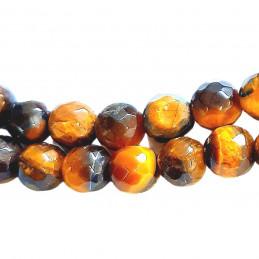 Fil de 38 perles facettées rondes 8mm en Oeil de Tigre marron