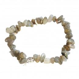 Bracelet élastique de perles chips en labradorite petite breloque - 50mm