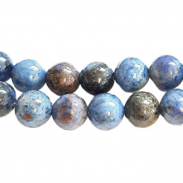 Fil de 60 perles rondes 6mm 6 mm en quartz bleu lapis lazuli dumortiérite