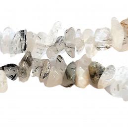 Fil de chips perles en Quartz à inclusions de Tourmaline - 80cm