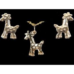Parure Girafe en plaqué or : pendentif + BO