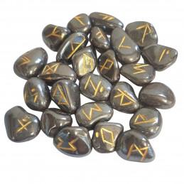 Jeu de 25 Runes celtique en hématite grise neuf