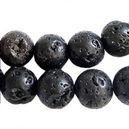 Fil de 62 perles rondes 6mm 6 mm en pierre de lave noire